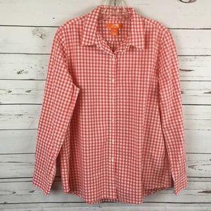 Joe Fresh Orange Gingham Shirt, Size L